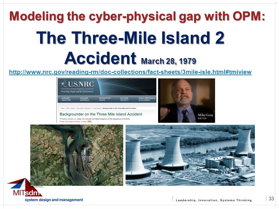 33 The Three-Mile Island 2 Accident March 28, 1979 http://www.nrc.gov/reading-rm/doc-collections/fact-sheets/3mile-isle.html#tmiview Modeling the cyber-physical gap with OPM: