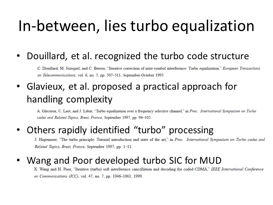 In-between, lies turbo equalization Douillard, et al.