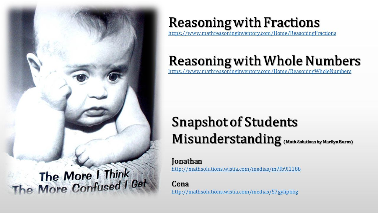 Reasoning with Fractions Reasoning with Whole Numbers Reasoning with Fractions https://www.mathreasoninginventory.com/Home/ReasoningFractions Reasonin