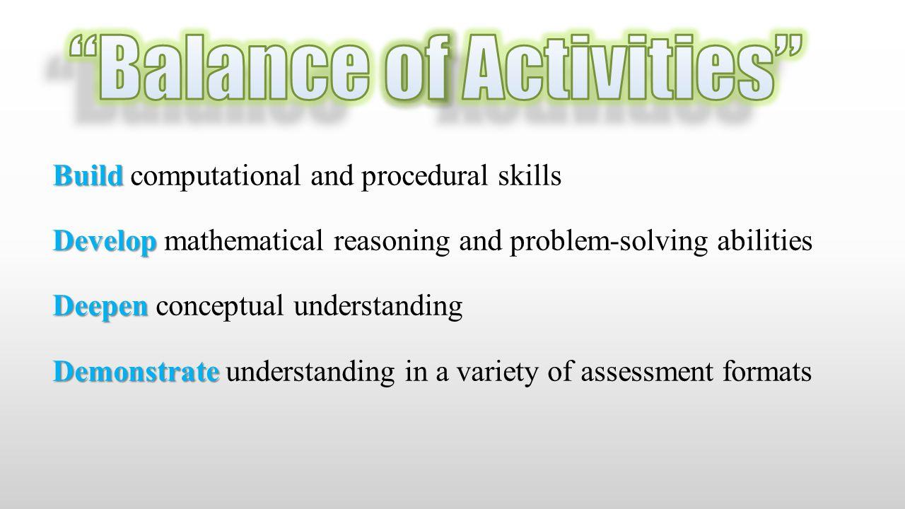 Build Build computational and procedural skills Develop Develop mathematical reasoning and problem-solving abilities Deepen Deepen conceptual understa