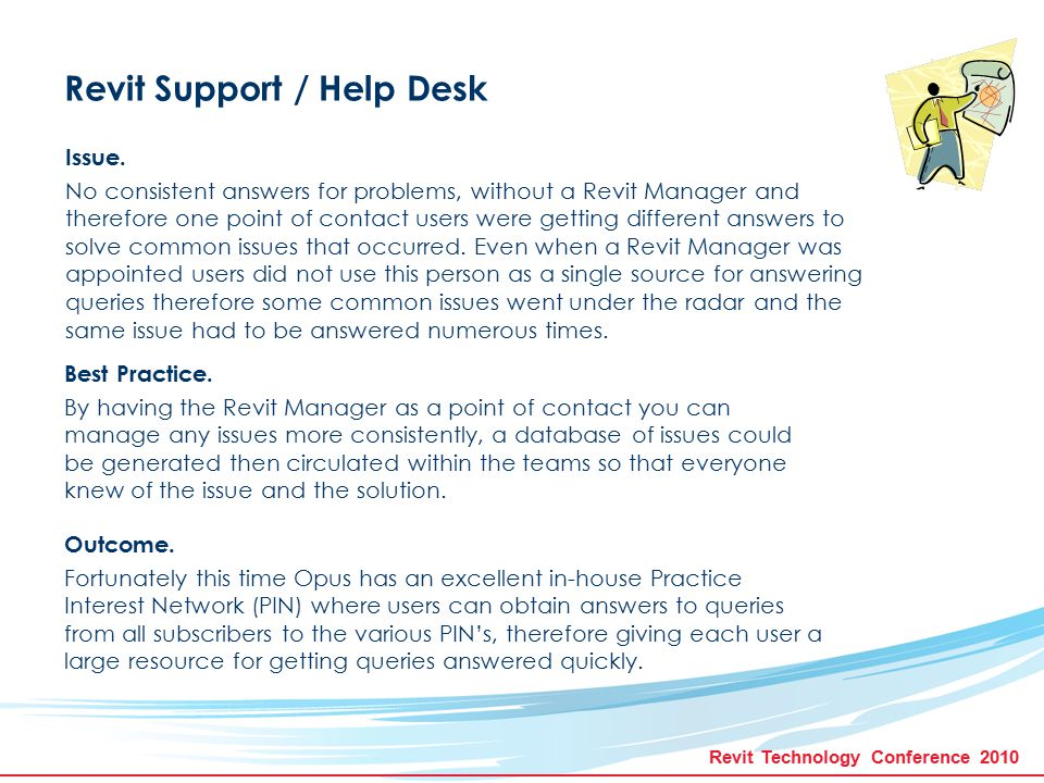 Revit Technology Conference 2010 Revit Support / Help Desk Issue.
