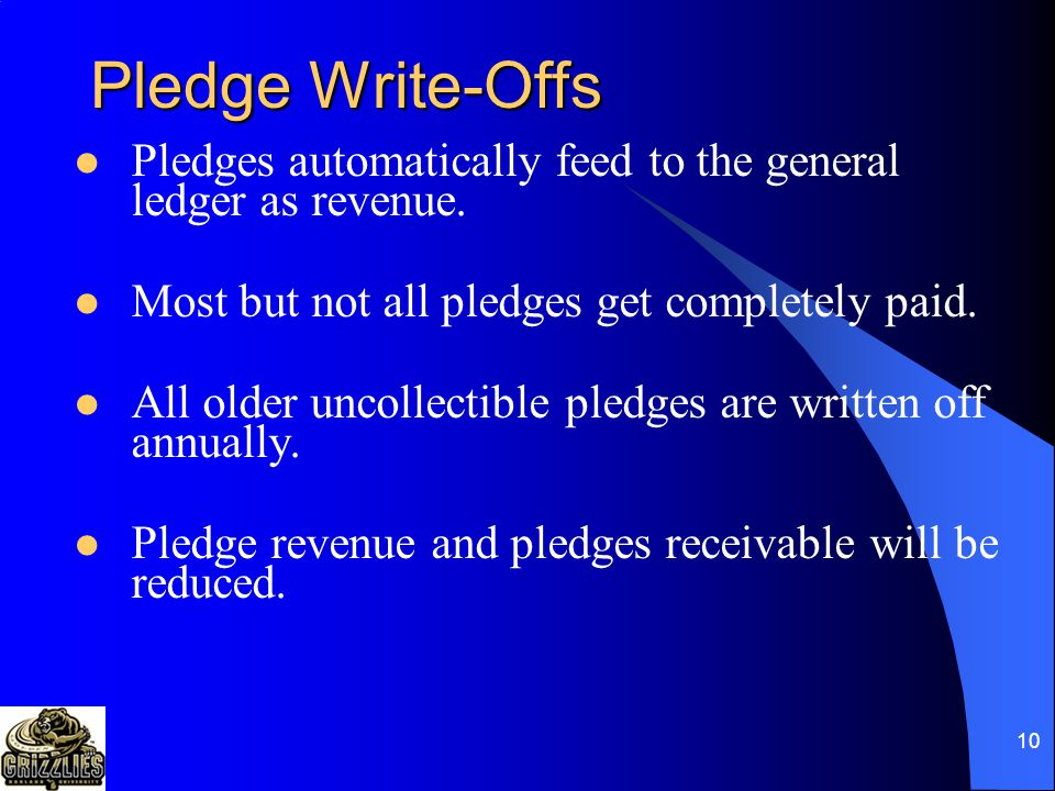 9 Advancement Definitions Pledge: A donor's promise to give (one time or in installments) Gift: The 100% transfer of assets from the donor to OU with no strings attached Pledge Payment: A 100% transfer of assets from the donor to OU with no strings attached applied to a previous pledge Outright Gift: Same as gift but not a payment on a pledge.