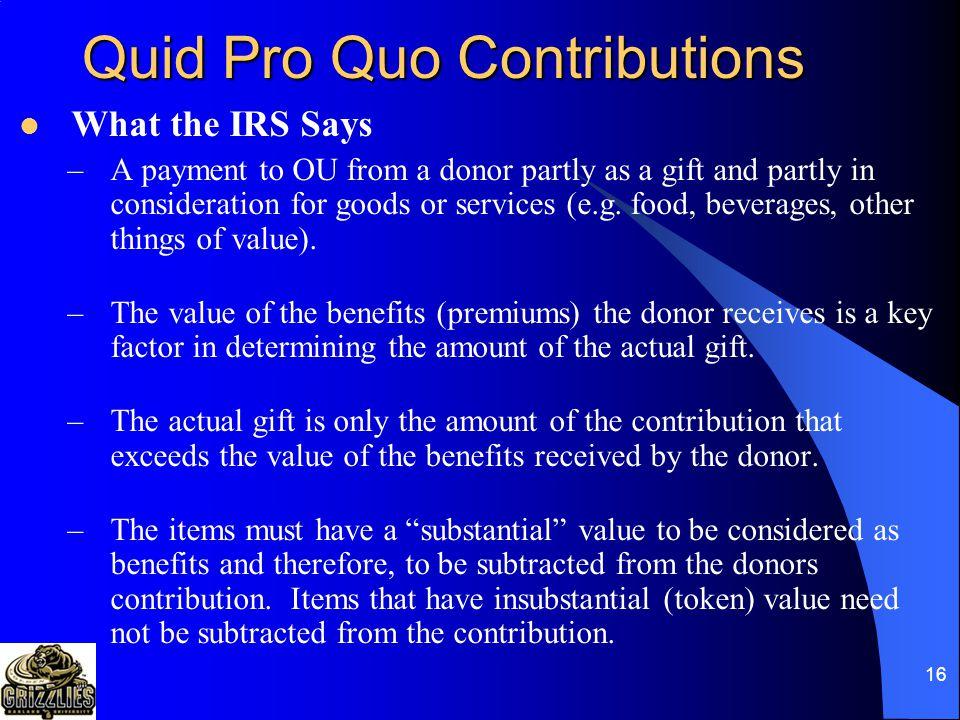 15 Quid Pro Quo Contributions