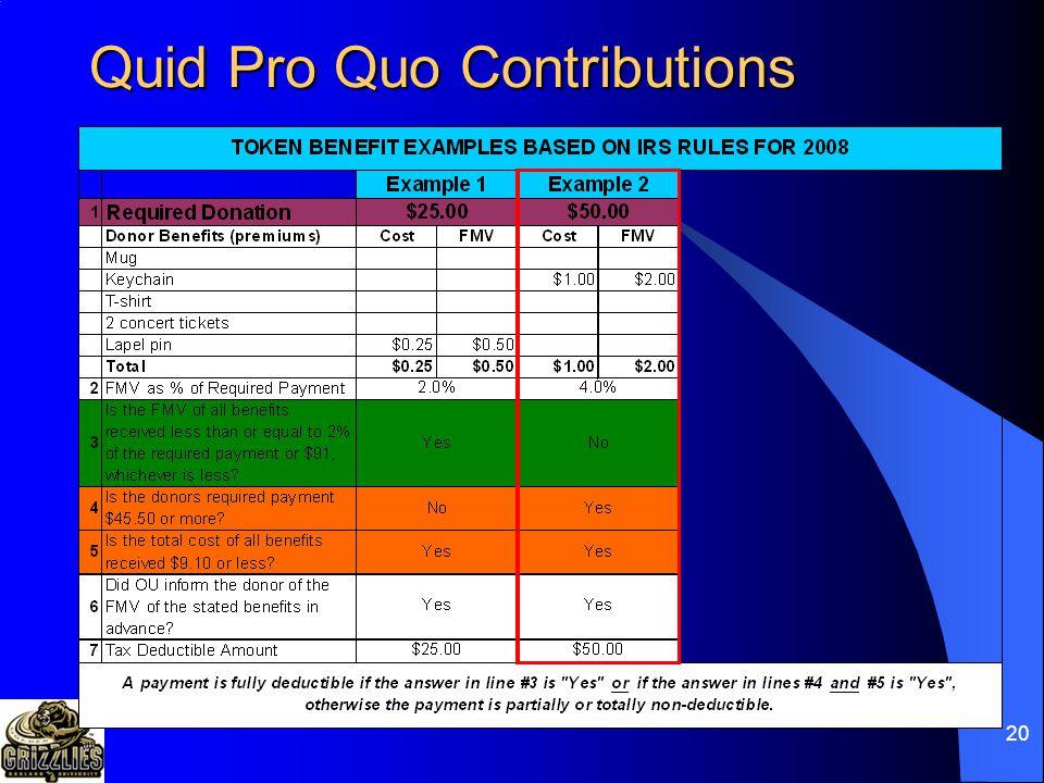 19 Quid Pro Quo Contributions
