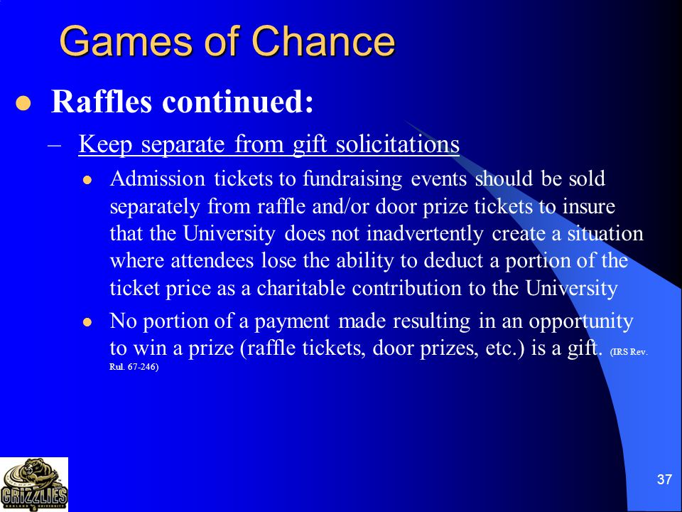 36 OU Game of Chance Approval From policy #435