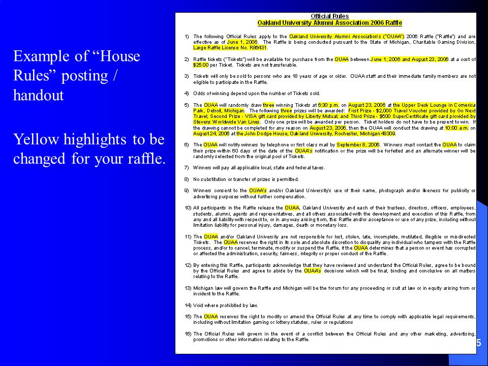 44 Games of Chance House rules – Rule 510 from State of Michigan Raffle Rules The licensee shall establish and adhere to its house rules for the conduct of the raffle.