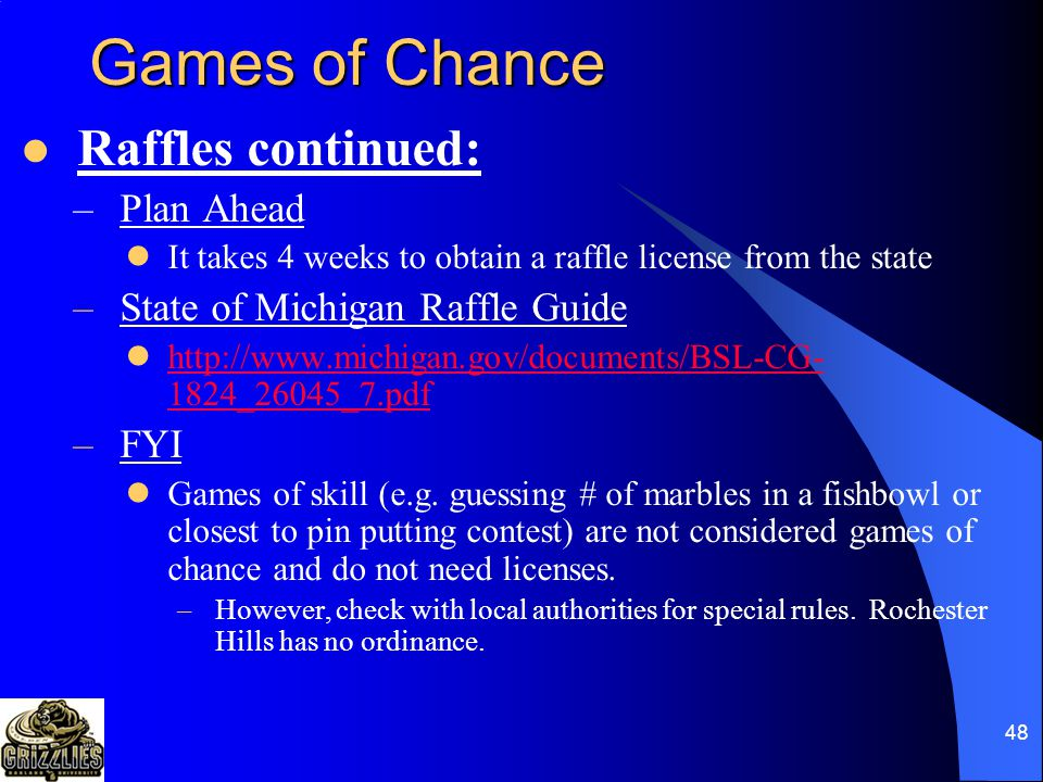 47 Games of Chance Raffles continued: –Licenses Small raffle license – required when the total prize value for all raffle prizes is $500 or less in a single day.