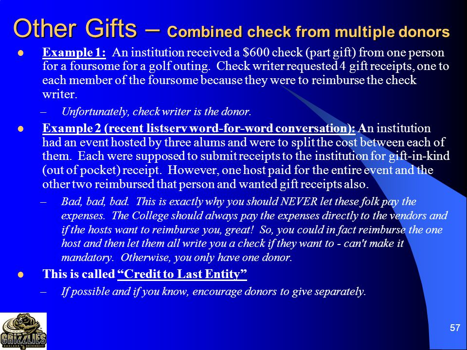 56 Other Gifts …just not a tax deduction and (probably) does not help fulfill OU's mission! BLOOD