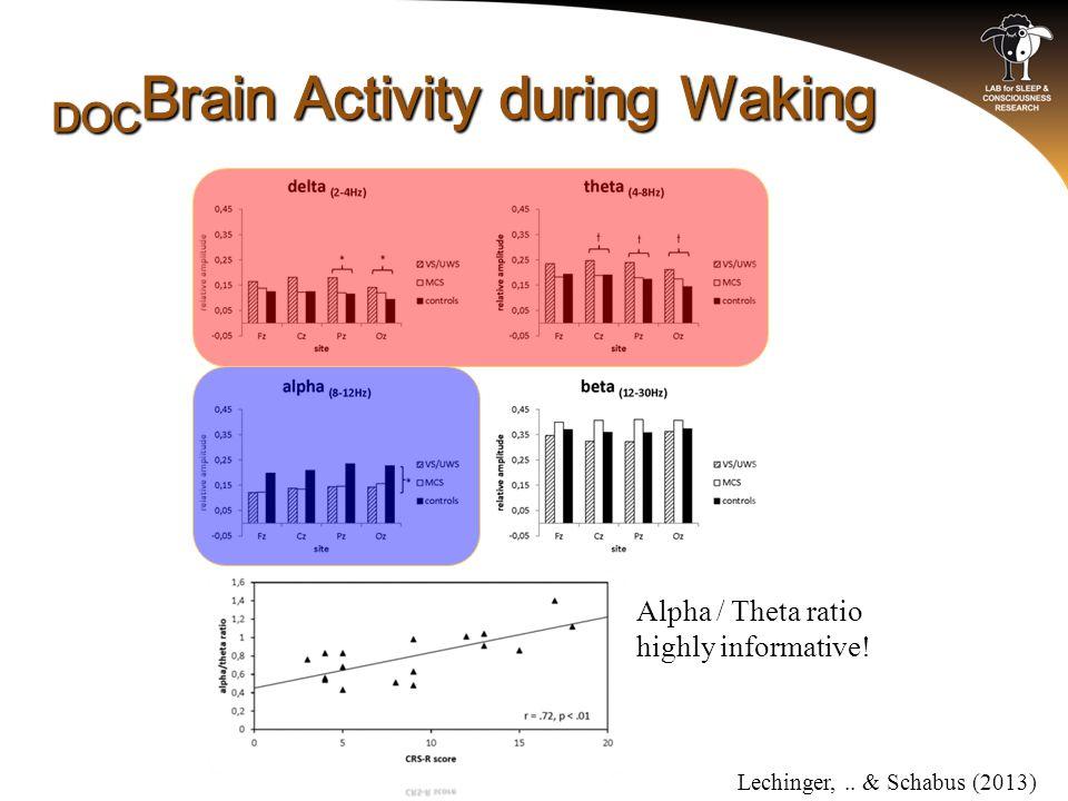 Lechinger,.. & Schabus (2013) Alpha / Theta ratio highly informative!