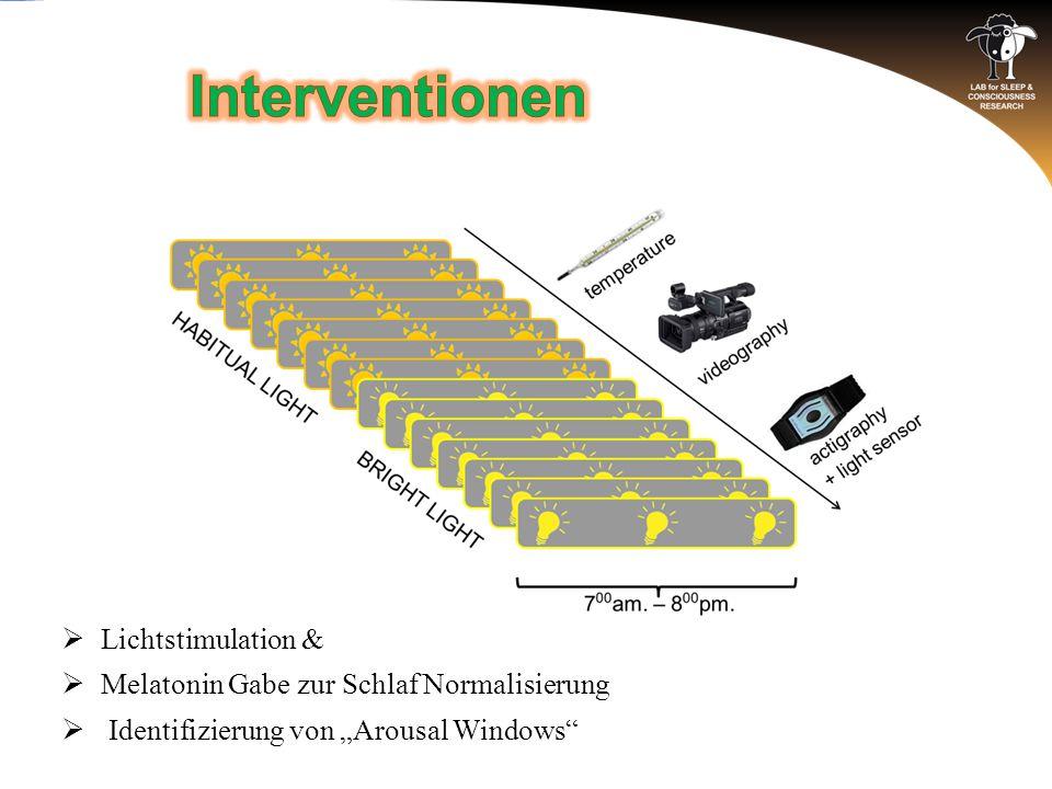 """ Lichtstimulation &  Melatonin Gabe zur Schlaf Normalisierung  Identifizierung von """"Arousal Windows"""