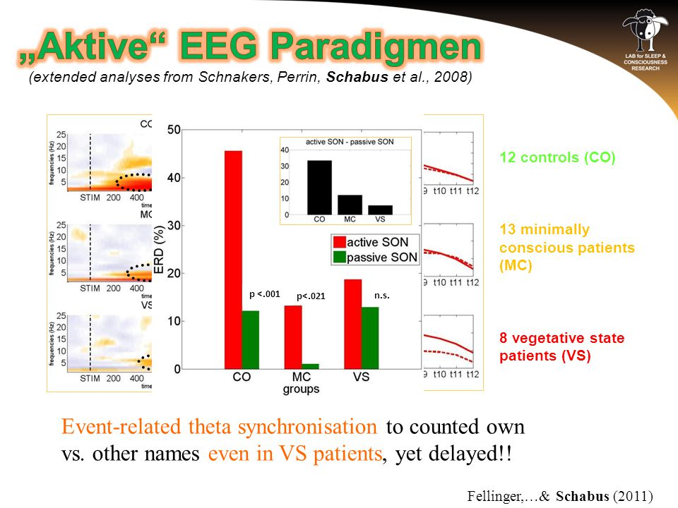 12 controls (CO) 13 minimally conscious patients (MC) 8 vegetative state patients (VS) Event-related theta synchronisation to counted own vs. other na