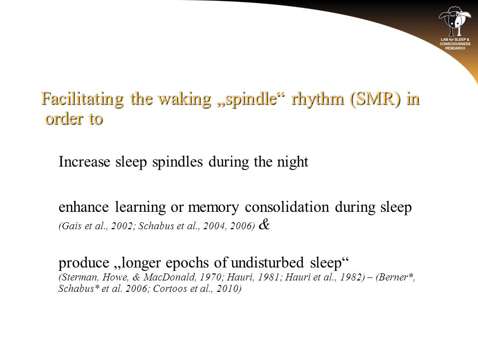 "Facilitating the waking ""spindle rhythm (SMR) in order to o Increase sleep spindles during the night o enhance learning or memory consolidation during sleep (Gais et al., 2002; Schabus et al., 2004, 2006) & o produce ""longer epochs of undisturbed sleep (Sterman, Howe, & MacDonald, 1970; Hauri, 1981; Hauri et al., 1982) – (Berner*, Schabus* et al."