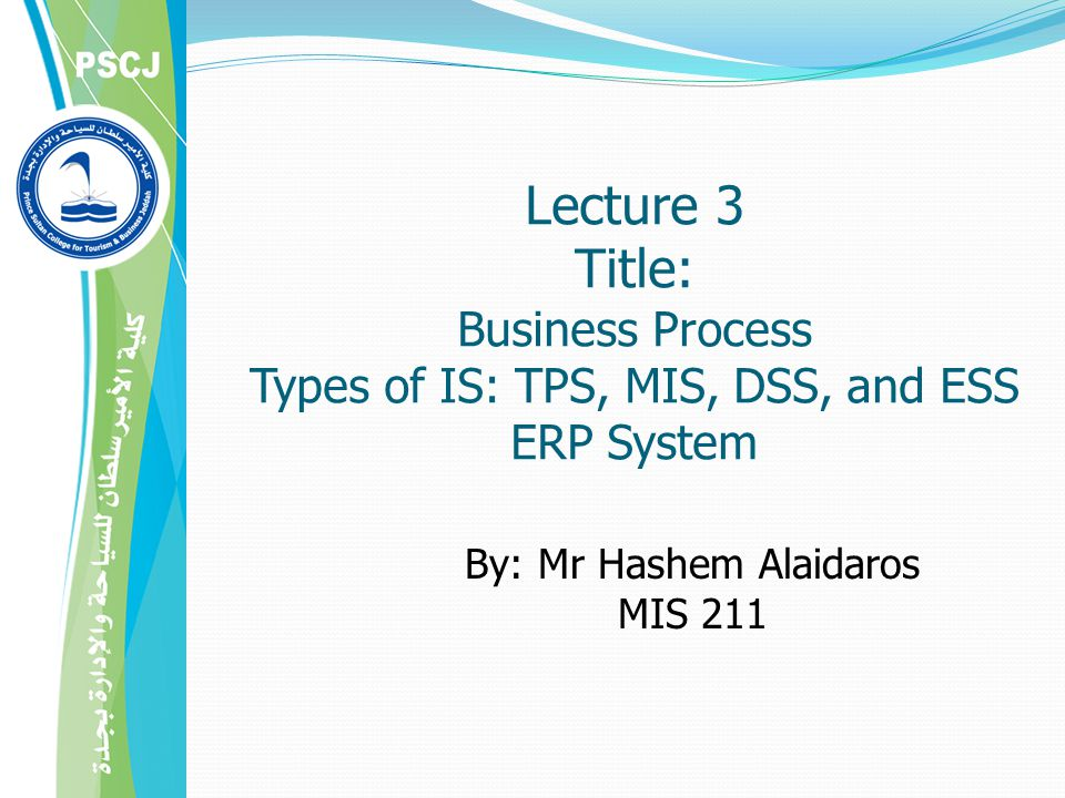 Lecture 3 Title: Business Process Types of IS: TPS, MIS, DSS, and ESS ERP System By: Mr Hashem Alaidaros MIS 211