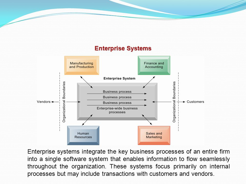 Enterprise Systems Enterprise systems integrate the key business processes of an entire firm into a single software system that enables information to