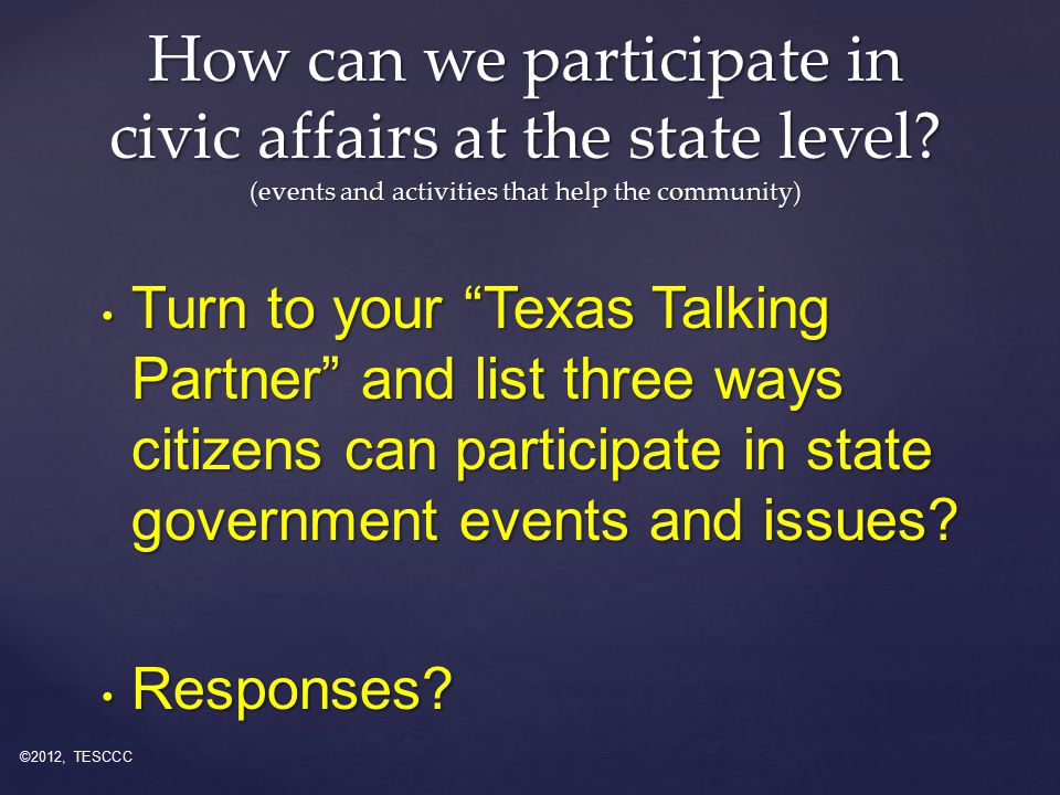 Turn to your Texas Talking Partner and list three ways citizens can participate in state government events and issues.