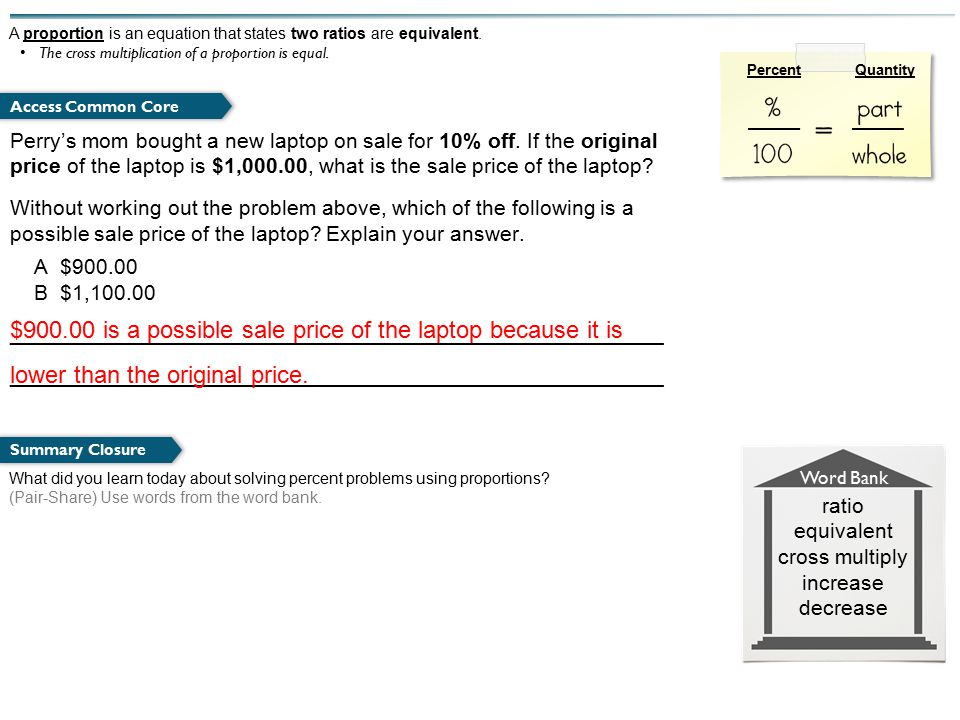 What did you learn today about solving percent problems using proportions.