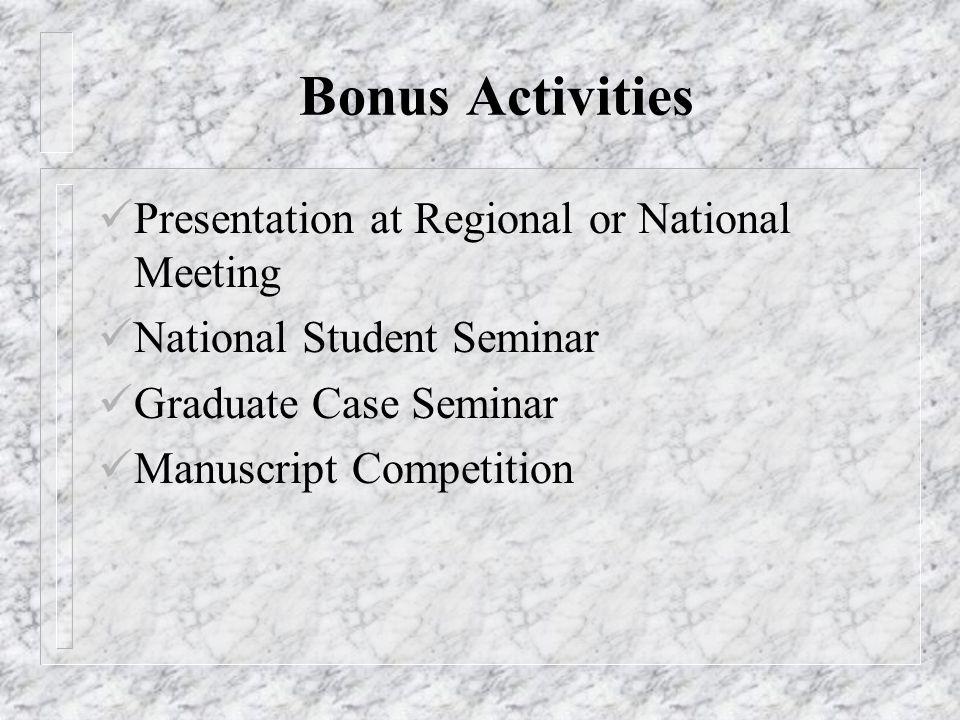 Bonus Activities Presentation at Regional or National Meeting National Student Seminar Graduate Case Seminar Manuscript Competition