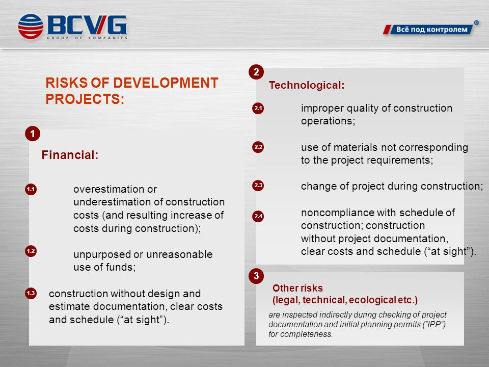 RISKS OF DEVELOPMENT PROJECTS: Financial: Technological: are inspected indirectly during checking of project documentation and initial planning permits ( IPP ) for completeness.