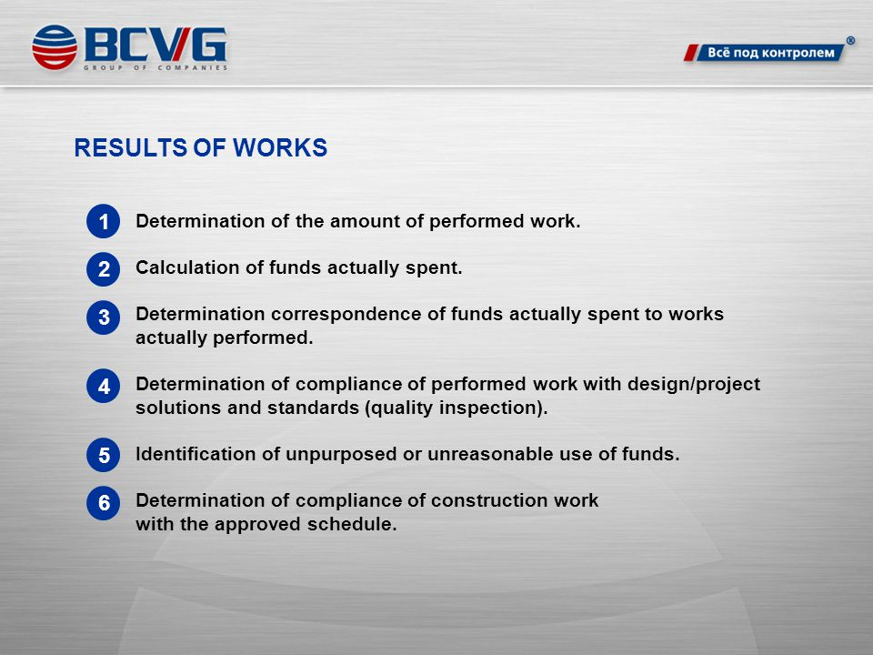 RESULTS OF WORKS Determination of the amount of performed work.