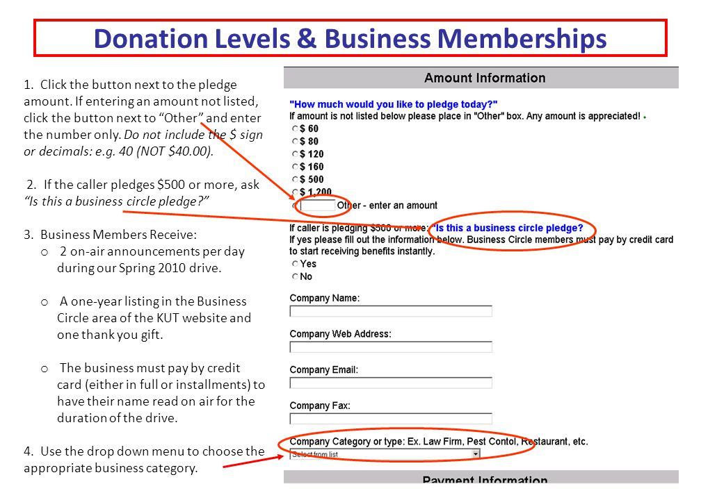 "Donation Levels & Business Memberships 1. Click the button next to the pledge amount. If entering an amount not listed, click the button next to ""Othe"