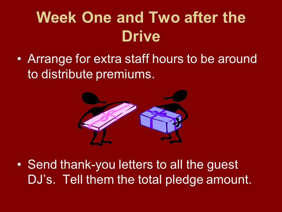 Week One and Two after the Drive Arrange for extra staff hours to be around to distribute premiums.