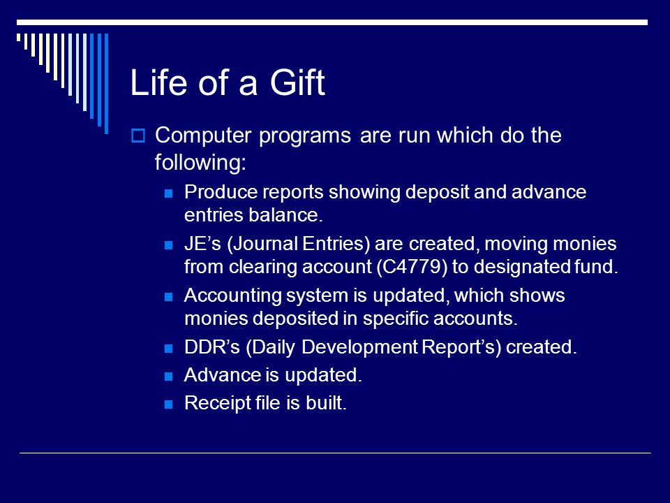Life of a Gift  Computer programs are run which do the following: Produce reports showing deposit and advance entries balance.
