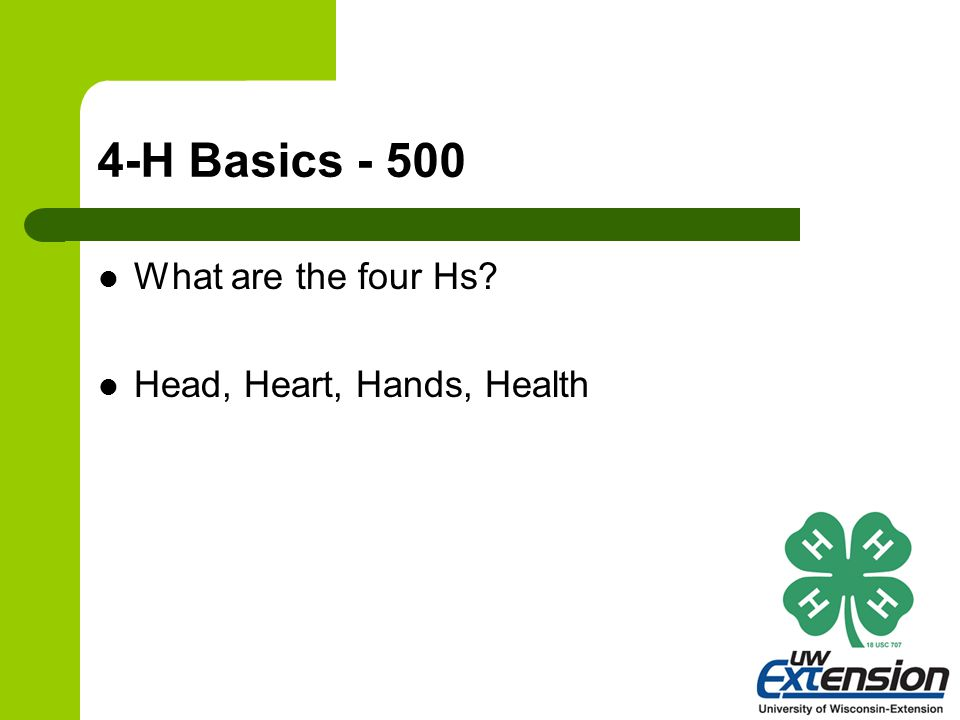 4-H Basics - 500 What are the four Hs? Head, Heart, Hands, Health