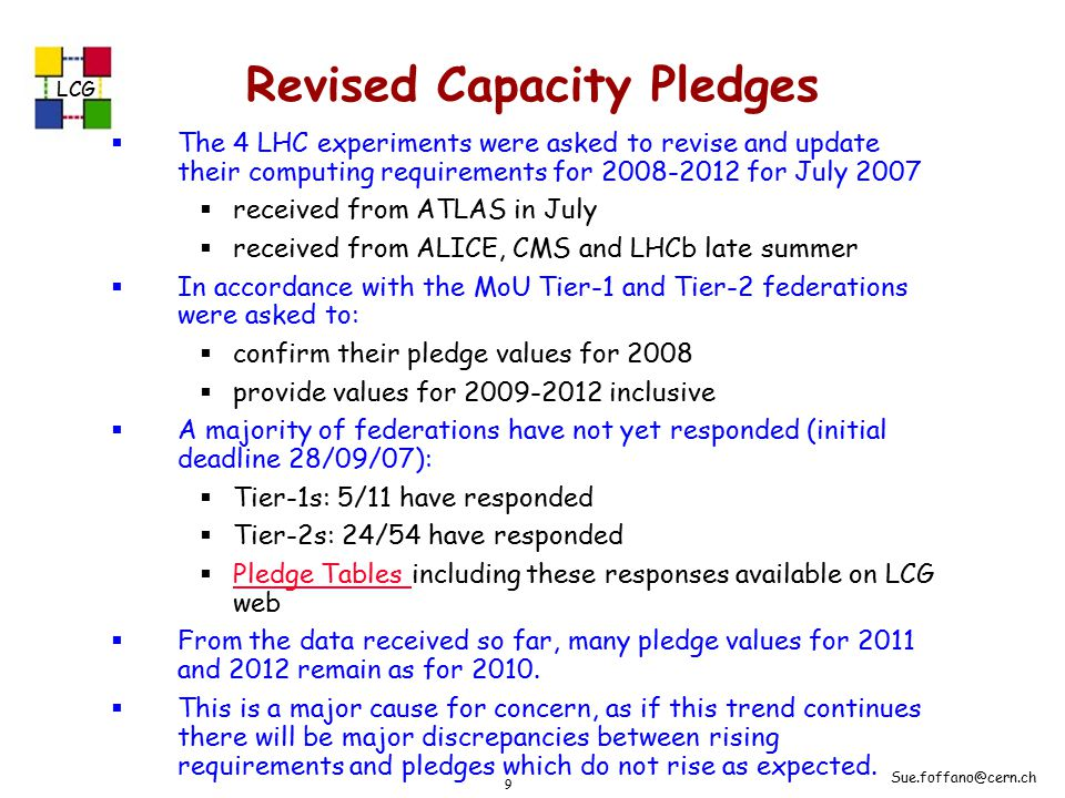 LCG Sue.foffano@cern.ch 9 Revised Capacity Pledges  The 4 LHC experiments were asked to revise and update their computing requirements for 2008-2012 for July 2007  received from ATLAS in July  received from ALICE, CMS and LHCb late summer  In accordance with the MoU Tier-1 and Tier-2 federations were asked to:  confirm their pledge values for 2008  provide values for 2009-2012 inclusive  A majority of federations have not yet responded (initial deadline 28/09/07):  Tier-1s: 5/11 have responded  Tier-2s: 24/54 have responded  Pledge Tables including these responses available on LCG web Pledge Tables  From the data received so far, many pledge values for 2011 and 2012 remain as for 2010.
