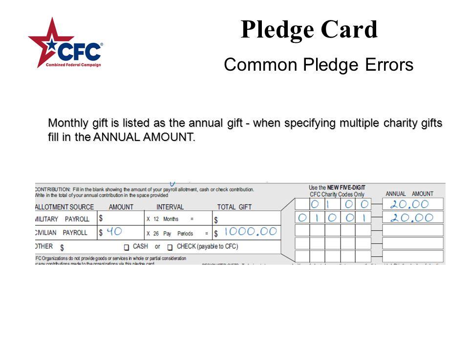 Pledge Card Designation to an invalid agency code.