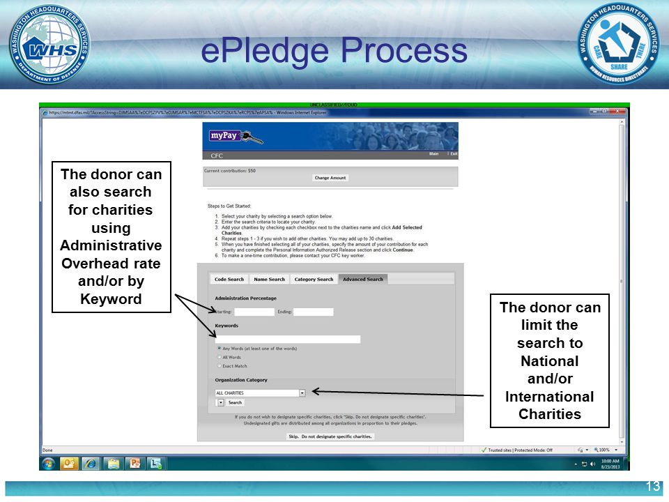 13 ePledge Process The donor can also search for charities using Administrative Overhead rate and/or by Keyword The donor can limit the search to Nati