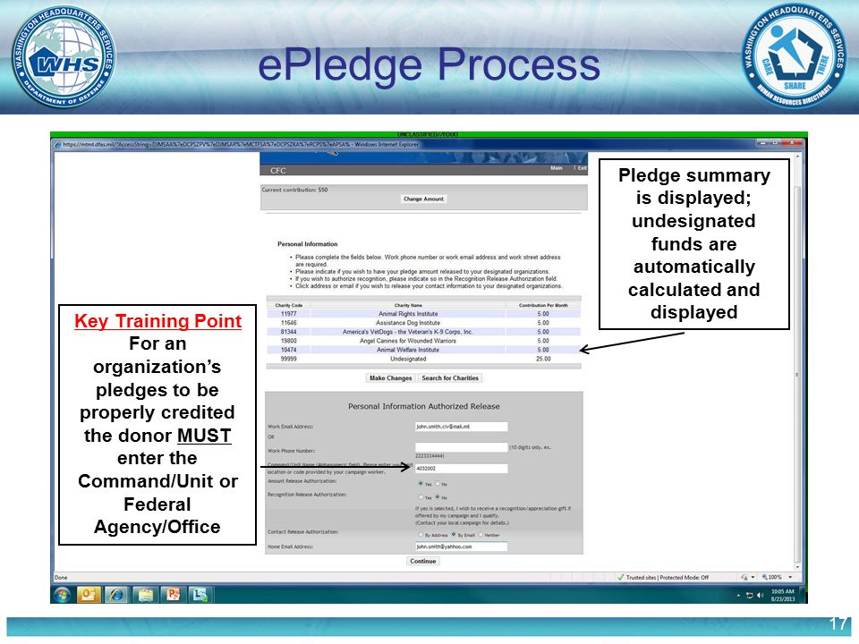 17 ePledge Process Pledge summary is displayed; undesignated funds are automatically calculated and displayed Key Training Point For an organization's