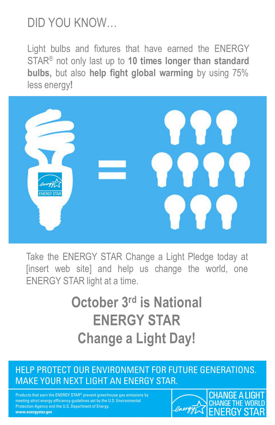 DID YOU KNOW… Light bulbs and fixtures that have earned the ENERGY STAR ® not only last up to 10 times longer than standard bulbs, but also help fight