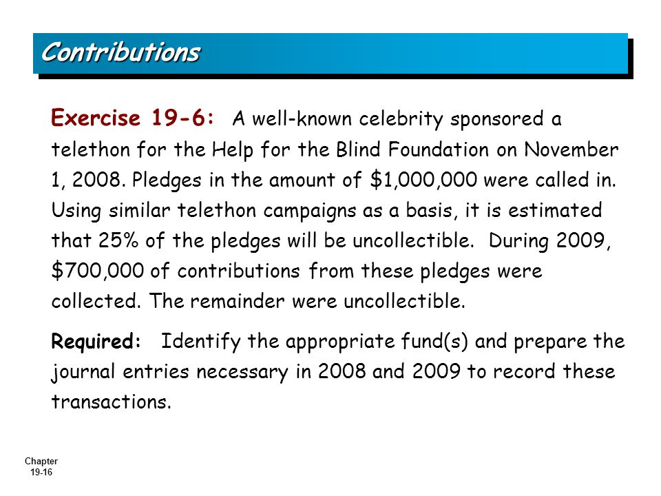 Chapter 19-16 Exercise 19-6: A well-known celebrity sponsored a telethon for the Help for the Blind Foundation on November 1, 2008.