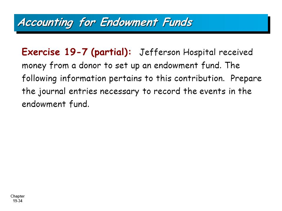 Chapter 19-34 Exercise 19-7 (partial): Jefferson Hospital received money from a donor to set up an endowment fund.