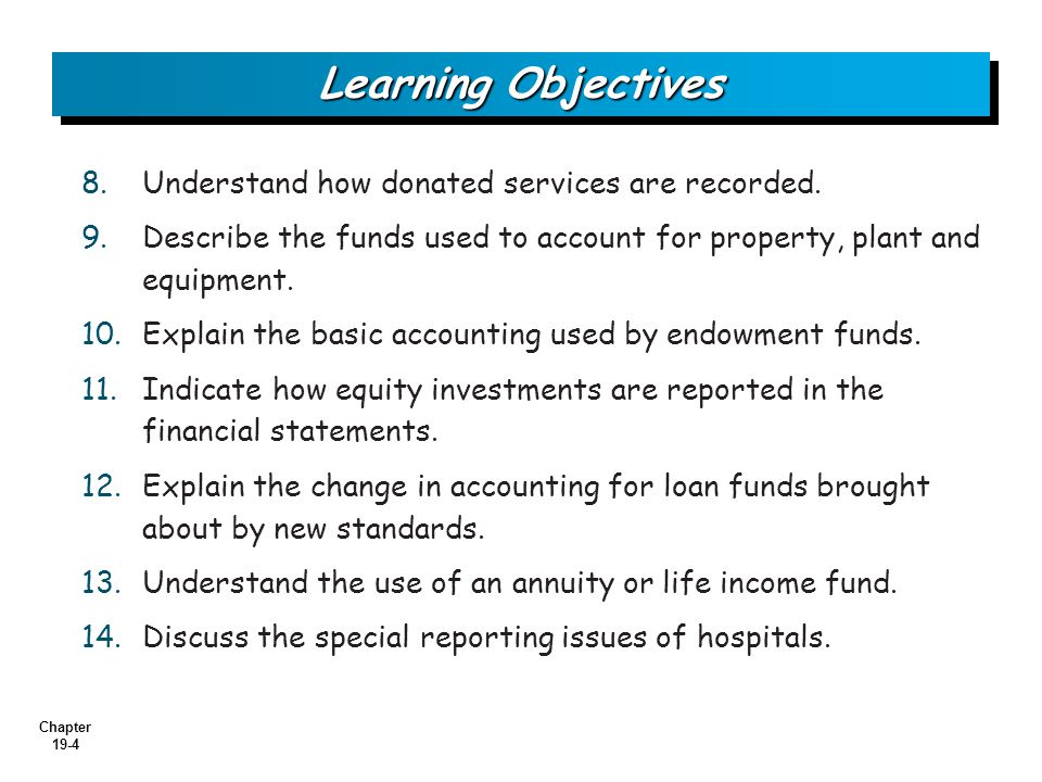 Chapter 19-4 8.8.Understand how donated services are recorded.