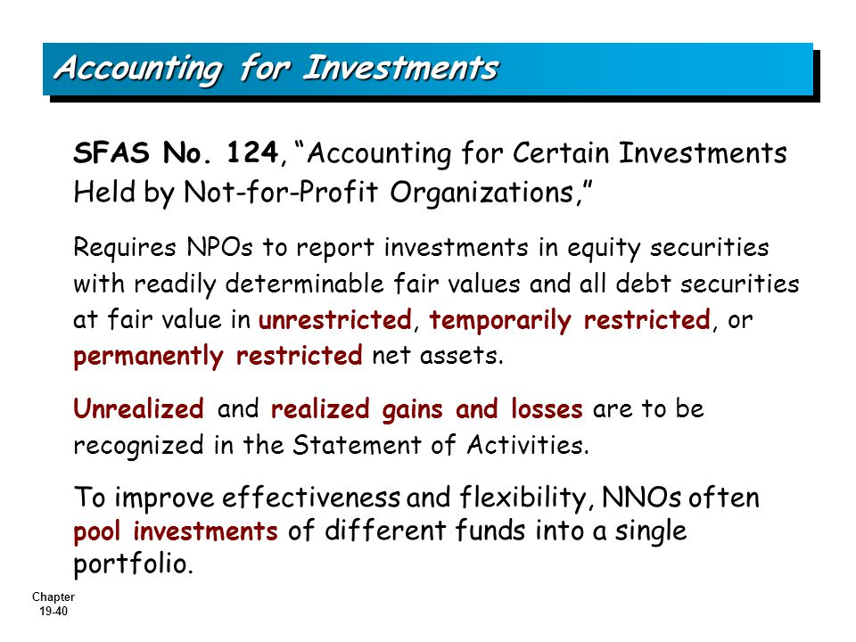 Chapter 19-40 Accounting for Investments SFAS No.