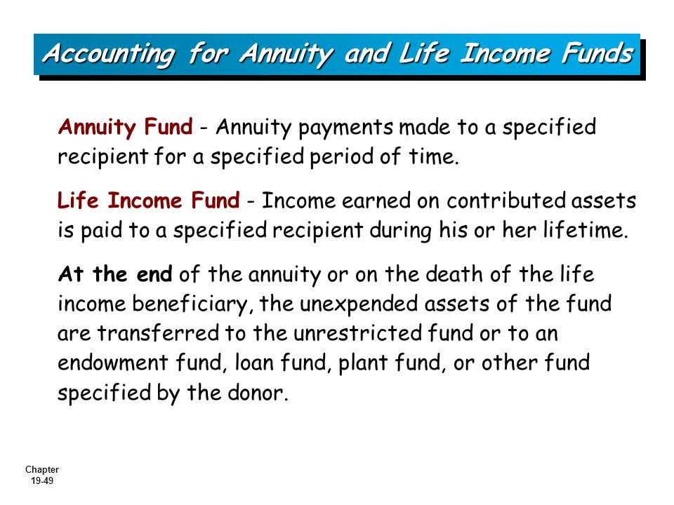 Chapter 19-49 Accounting for Annuity and Life Income Funds Annuity Fund - Annuity payments made to a specified recipient for a specified period of time.