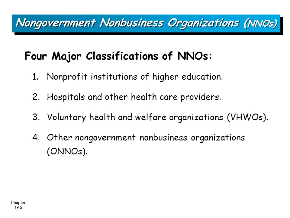 Chapter 19-5 Four Major Classifications of NNOs: 1.Nonprofit institutions of higher education.