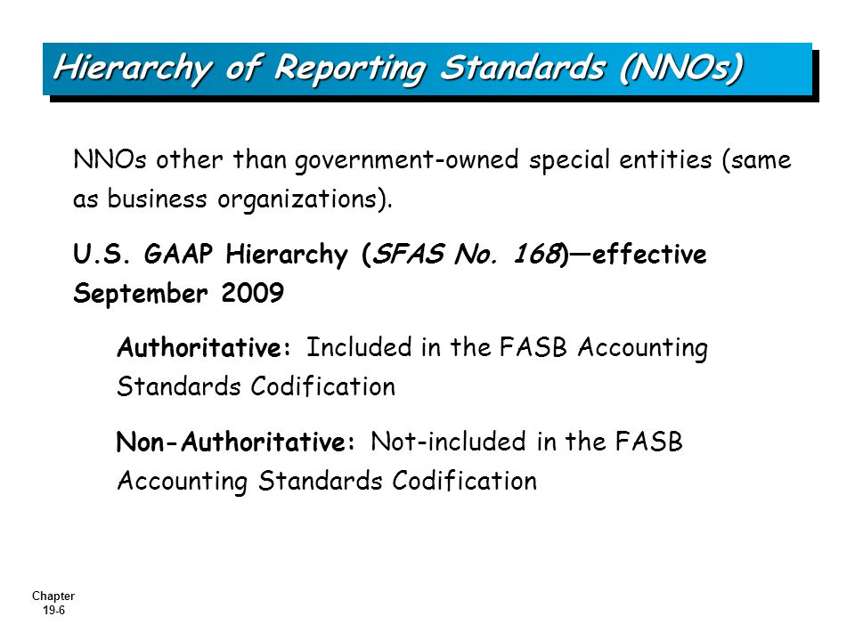 Chapter 19-6 Hierarchy of Reporting Standards (NNOs) NNOs other than government-owned special entities (same as business organizations).