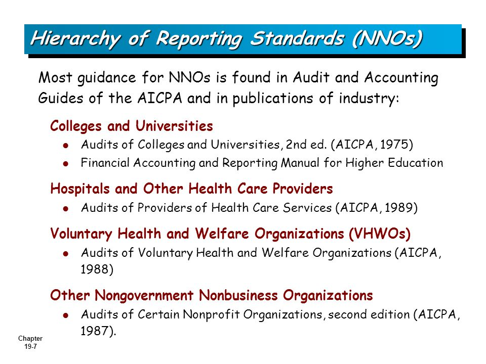 Chapter 19-7 Most guidance for NNOs is found in Audit and Accounting Guides of the AICPA and in publications of industry: Colleges and Universities Audits of Colleges and Universities, 2nd ed.