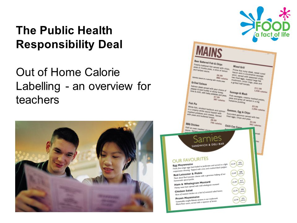 Public Health Responsibility Deal – Calories on menus The Public Health Responsibility Deal Out of Home Calorie Labelling - an overview for teachers