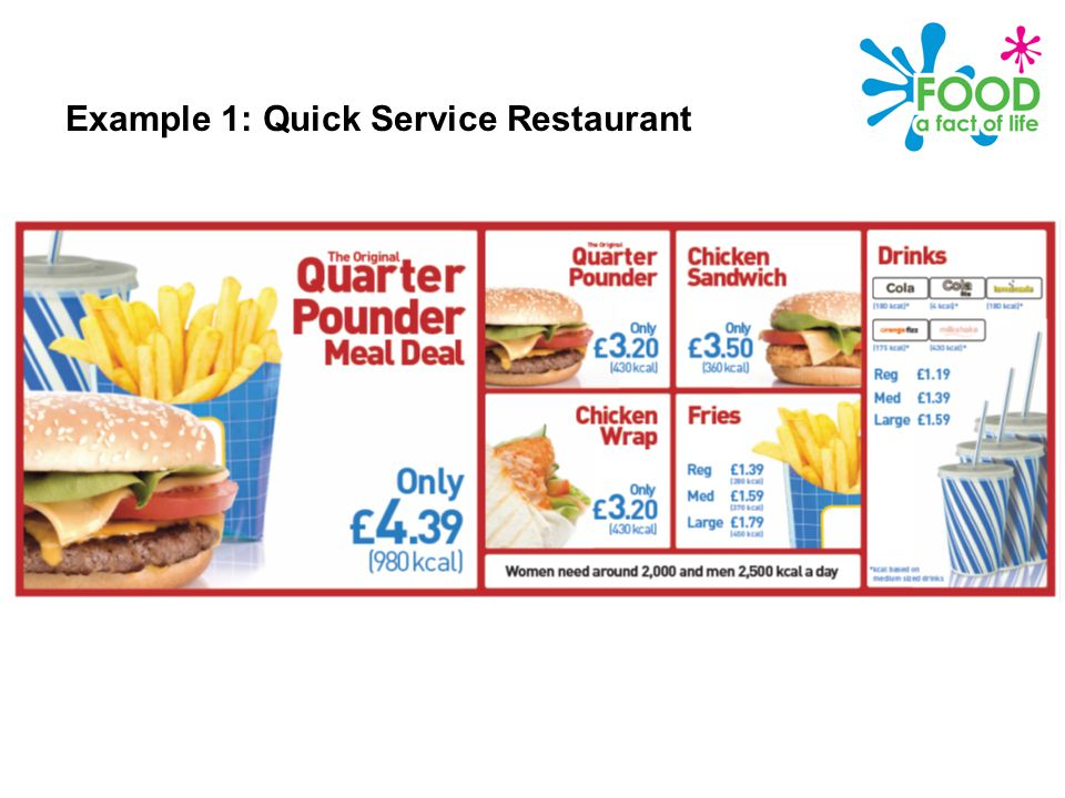 Public Health Responsibility Deal – Calories on the menu Example 1: Quick Service Restaurant
