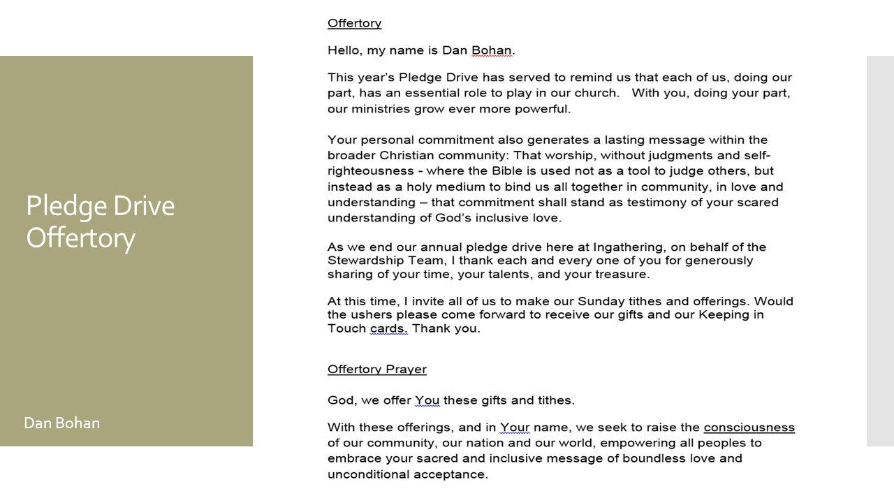 Pledge Drive Offertory Dan Bohan