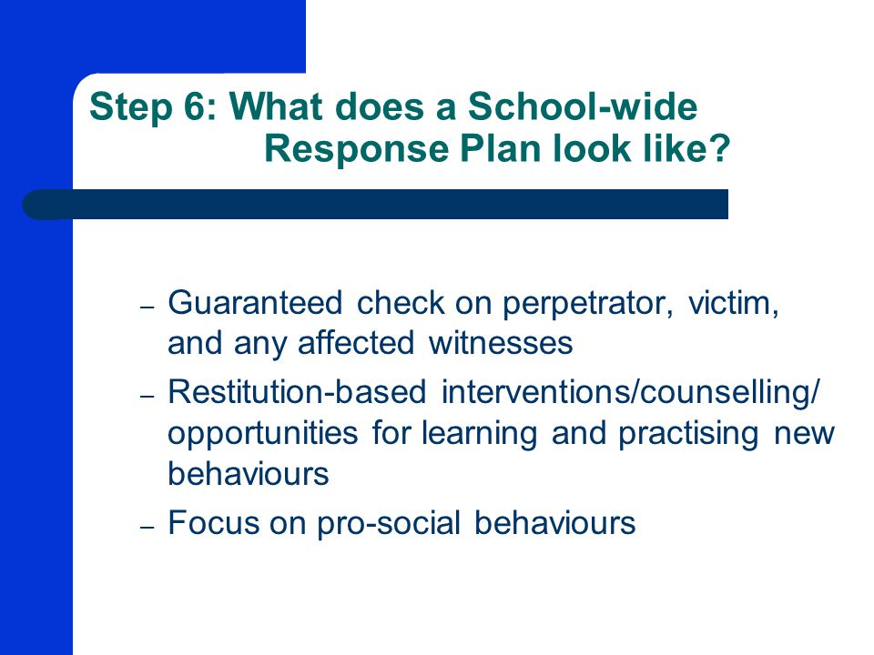Step 6: What does a School-wide Response Plan look like.