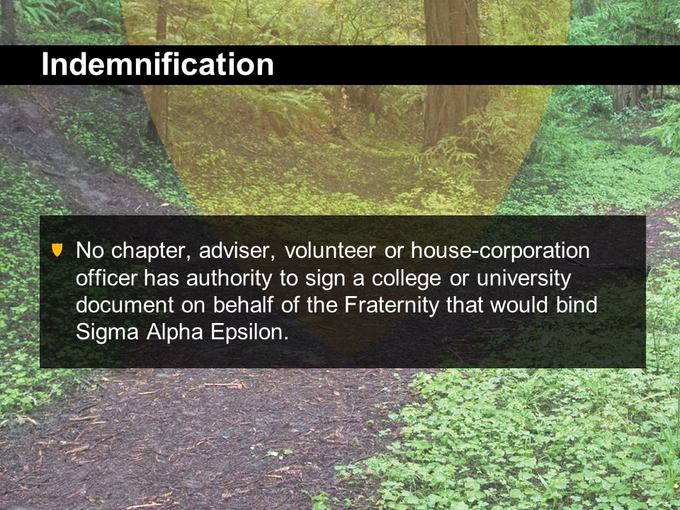 Indemnification No chapter, adviser, volunteer or house-corporation officer has authority to sign a college or university document on behalf of the Fraternity that would bind Sigma Alpha Epsilon.