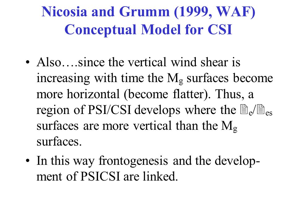 Nicosia and Grumm (1999, WAF) Conceptual Model for CSI Also….since the vertical wind shear is increasing with time the M g surfaces become more horizontal (become flatter).