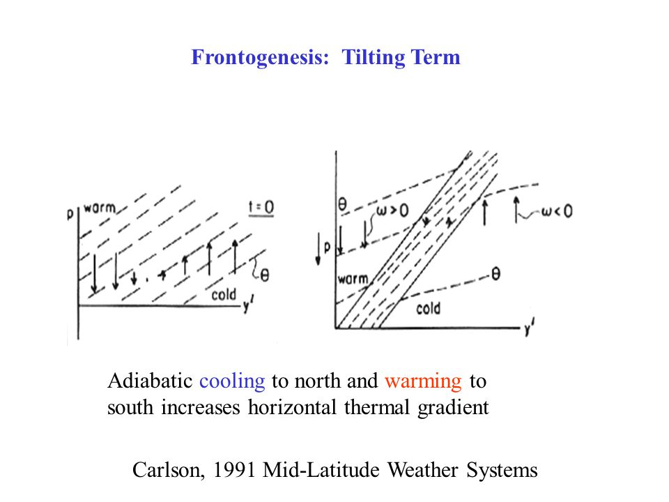 Frontogenesis: Tilting Term Adiabatic cooling to north and warming to south increases horizontal thermal gradient Carlson, 1991 Mid-Latitude Weather Systems
