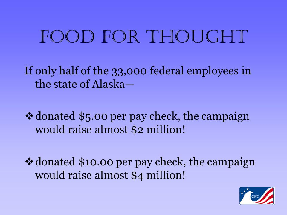 Food For Thought If only half of the 33,000 federal employees in the state of Alaska—  donated $5.00 per pay check, the campaign would raise almost $2 million.