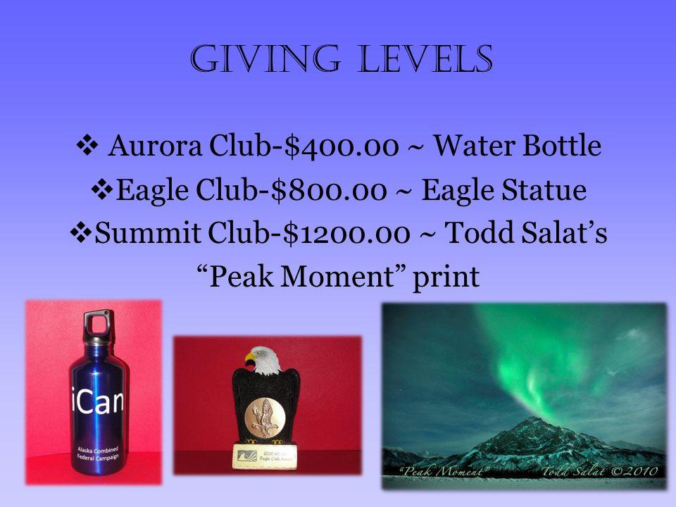 Giving Levels  Aurora Club-$400.00 ~ Water Bottle  Eagle Club-$800.00 ~ Eagle Statue  Summit Club-$1200.00 ~ Todd Salat's Peak Moment print