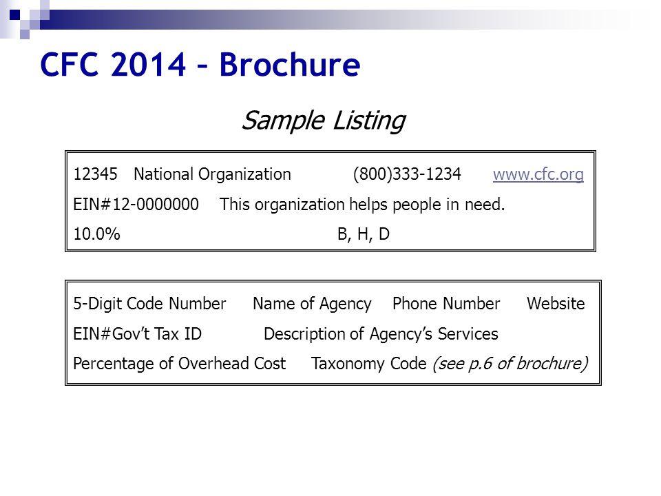 CFC 2014 – Brochure 12345 National Organization (800)333-1234 www.cfc.org EIN#12-0000000 This organization helps people in need. 10.0% B, H, Dwww.cfc.